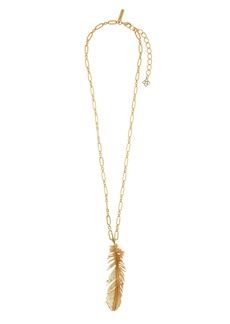 Oscar de la Renta Feather Pendant Necklace