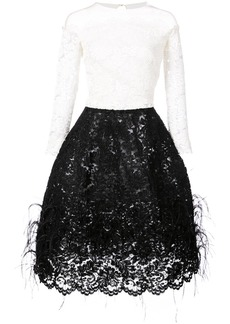 Oscar de la Renta feathered skirt lace dress - White