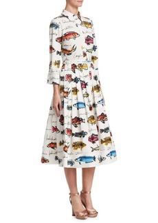 Oscar de la Renta Fish Print A-Line Shirt Dress