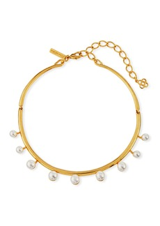 Oscar de la Renta Floating Pearly Crystal Choker Necklace