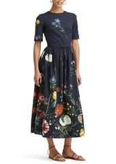 Oscar de la Renta Floral A-Line Midi Dress