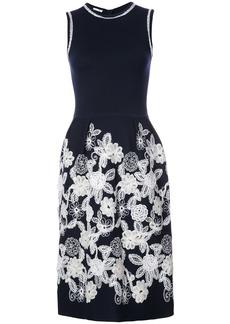 Oscar de la Renta floral appliqué shift dress - Blue