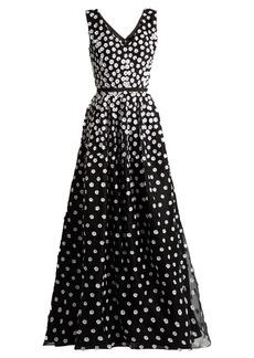 Oscar De La Renta Floral-appliqué silk-organza gown