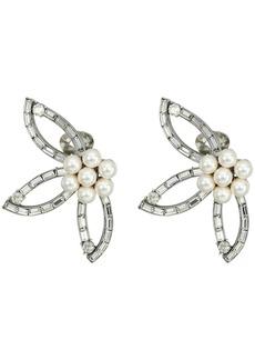 Oscar de la Renta Floral Baguette Pearl C Earrings
