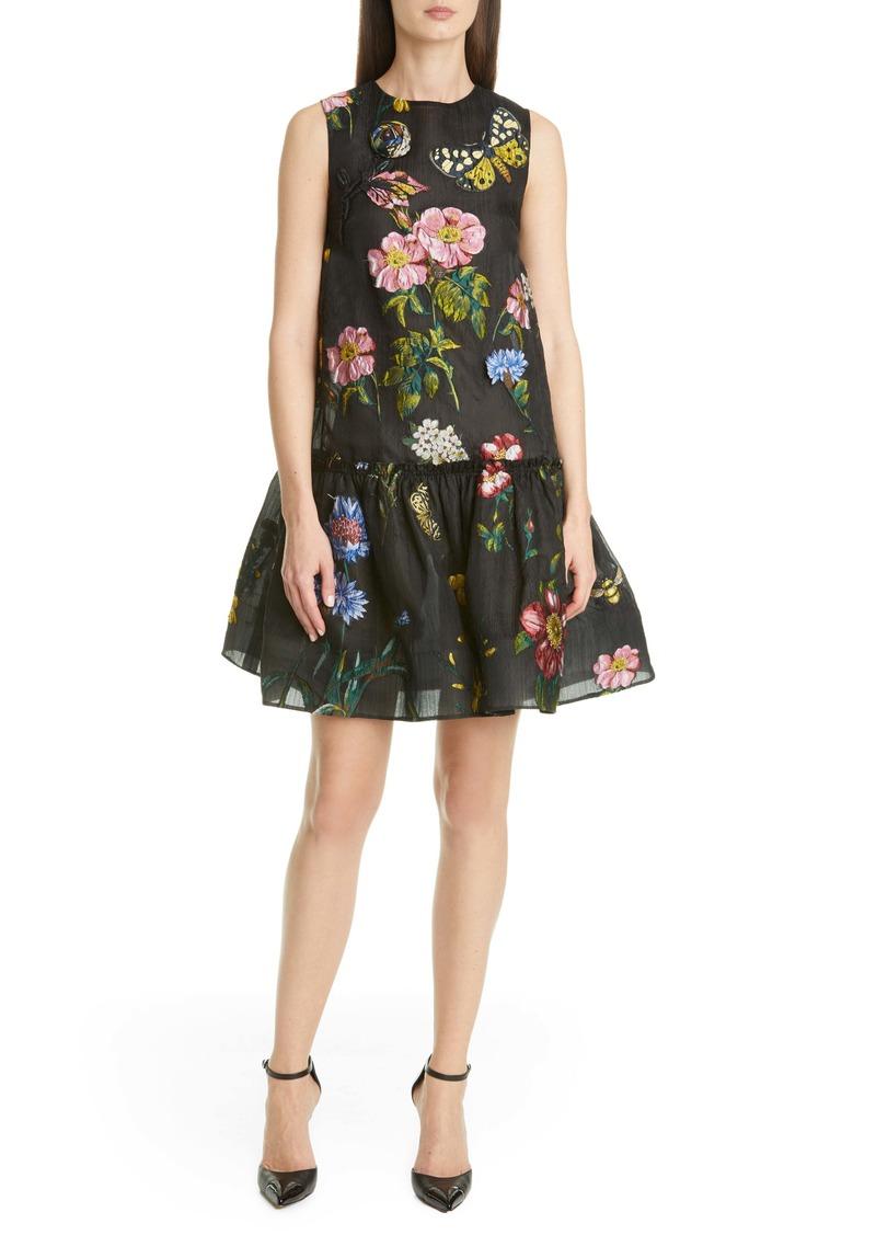 Oscar de la Renta Floral Brocade Chiffon Drop Waist Dress