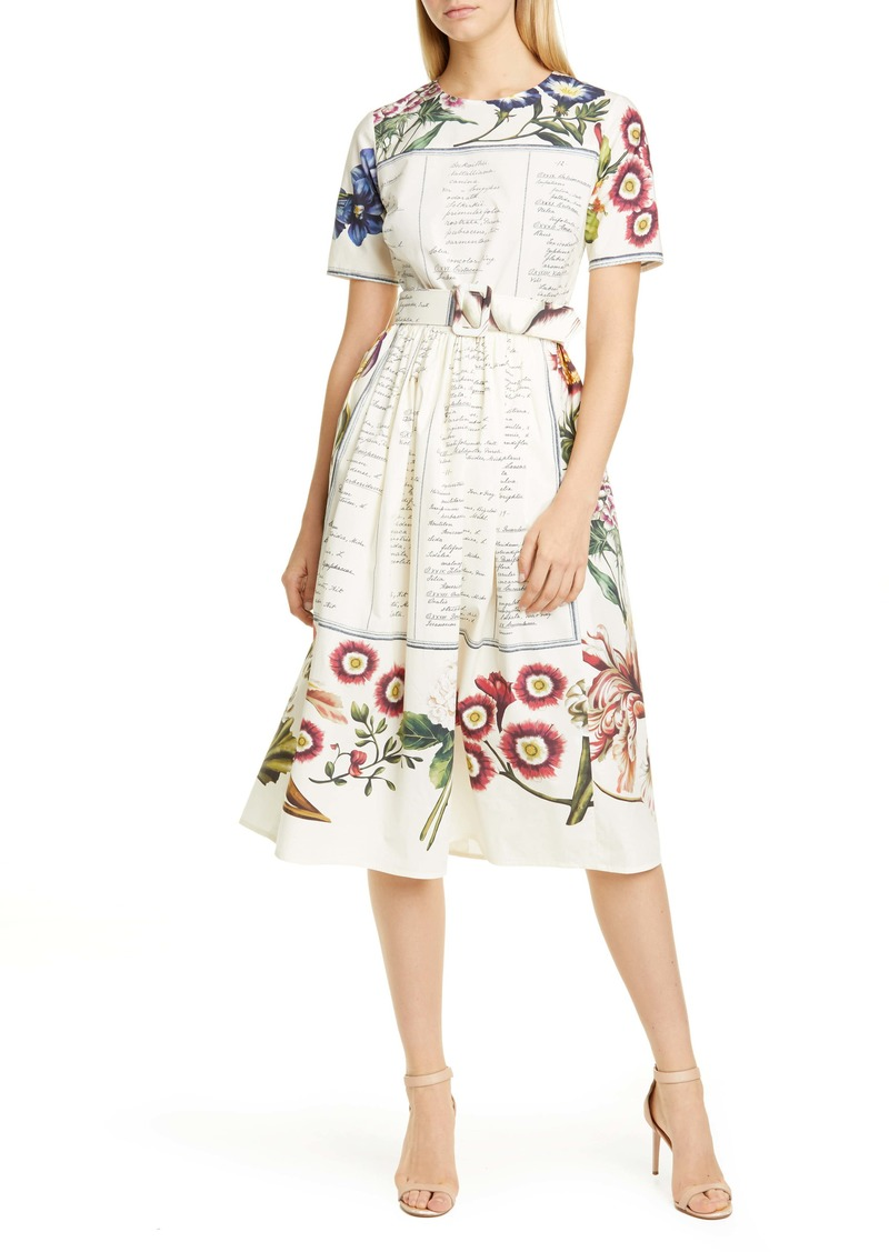 Oscar de la Renta Floral Calligraphy Print Poplin Midi Dress