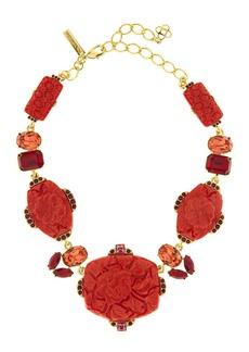 Oscar de la Renta Floral Carved Resin Necklace