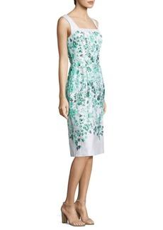 Oscar de la Renta Floral Cotton-Blend Dress