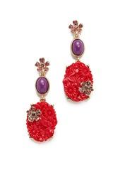 Oscar de la Renta Floral Crystal Resin Earrings