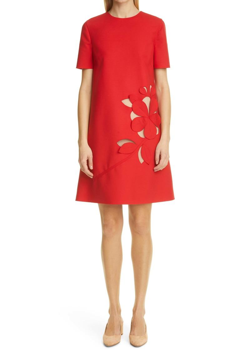 Oscar de la Renta Floral Cutout A-Line Dress
