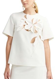 Oscar de la Renta Floral Cutout Short Sleeve Top