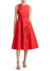 Oscar de la Renta Floral Cutout Sleeveless A-Line Dress