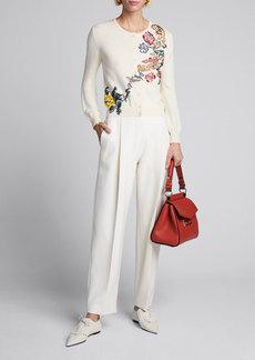 Oscar de la Renta Floral Embroidered Button Front Wool Cardigan