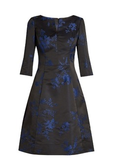 Oscar De La Renta Floral-embroidered duchess-satin dress