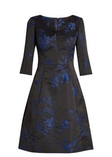 Oscar De La Renta Floral-embroidered duchess-satin dress