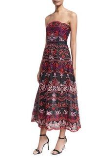 Oscar de la Renta Floral Embroidered Eyelet Strapless Gown