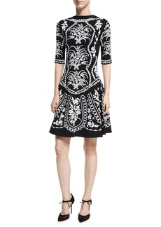Oscar de la Renta Floral-Embroidered Fit & Flare Dress