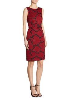 Oscar de la Renta Floral-Embroidered Flounce Dress
