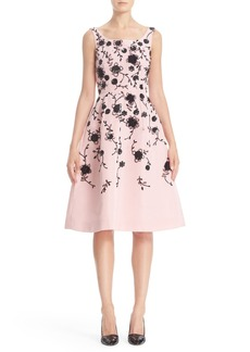 Oscar de la Renta Floral Embroidered Silk Cocktail Dress