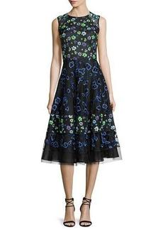 Oscar de la Renta Floral-Embroidered Sleeveless Cocktail Dress