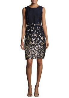 Oscar de la Renta Floral-Embroidered Sleeveless Sheath Dress