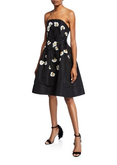Oscar de la Renta Floral Embroidered Strapless Dress