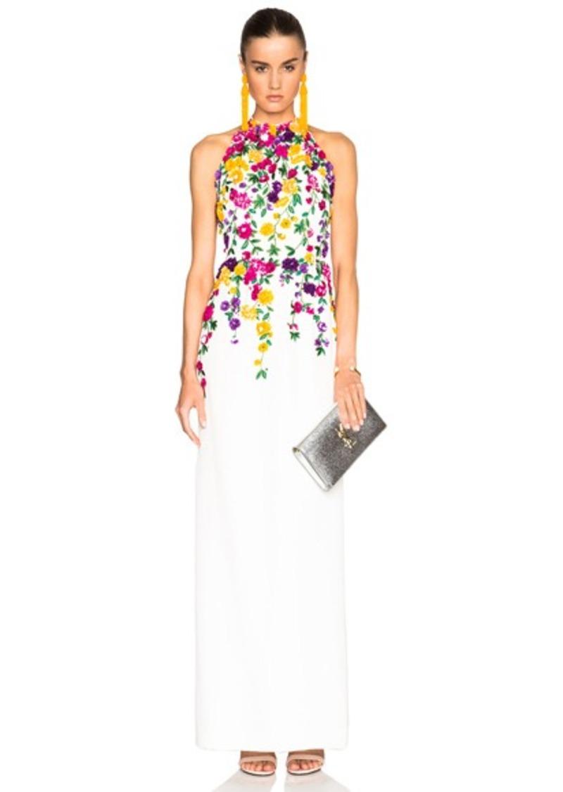 Oscar de la Renta Floral Embroidery Gown
