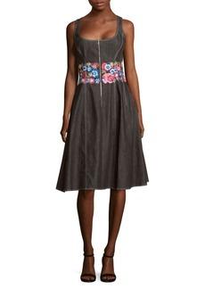 Oscar de la Renta Floral Embroidery Knee-Length Dress