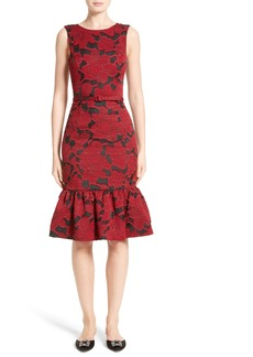 Oscar de la Renta Floral Fil Coupé Dress