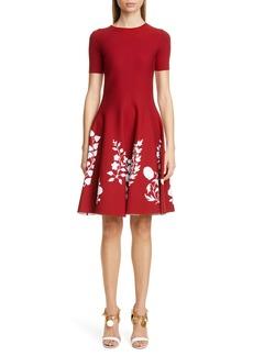Oscar de la Renta Floral Fit & Flare Sweater Dress