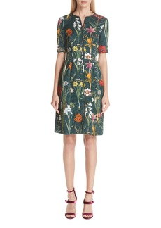Oscar de la Renta Floral Harvest Cloqué Dress