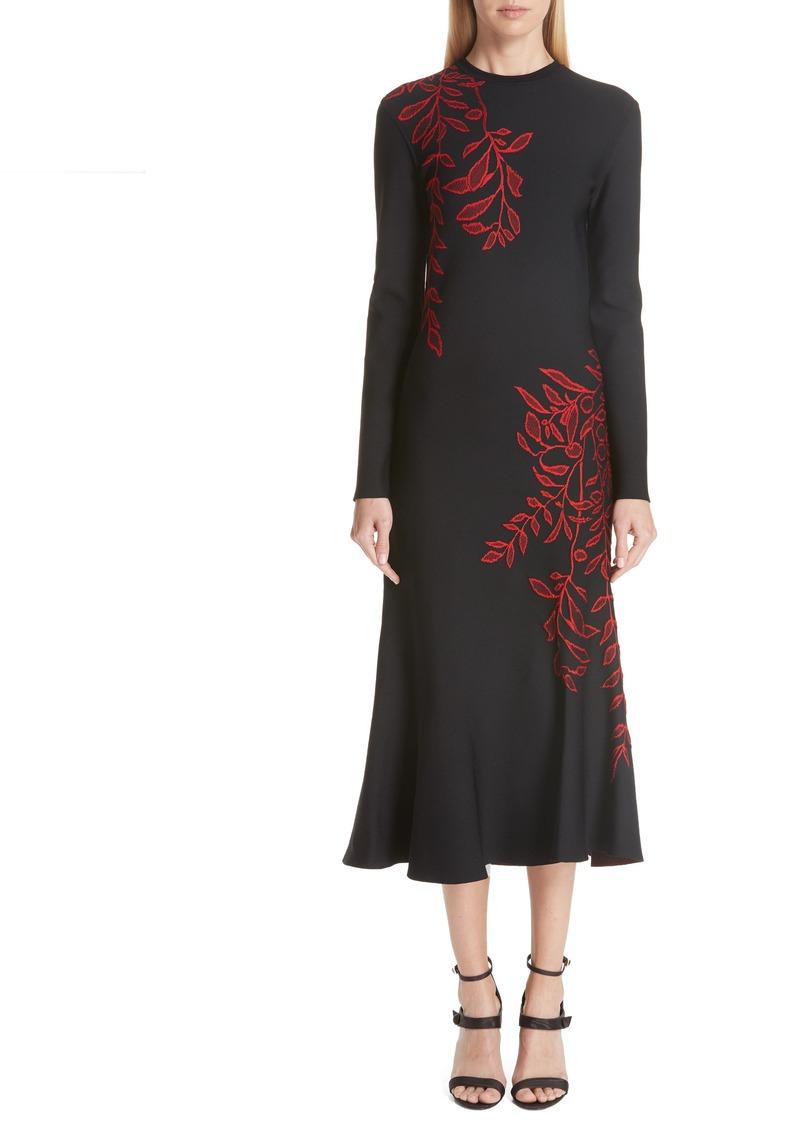 Oscar de la Renta Floral Intarsia Dress