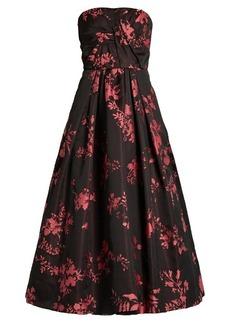 Oscar De La Renta Floral-jacquard crepe de Chine gown