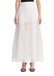 Oscar de la Renta Floral Lace Skirt