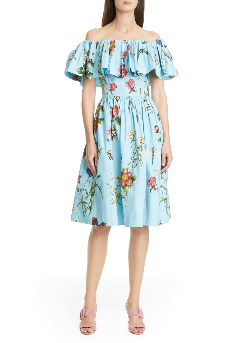 Oscar de la Renta Floral Off the Shoulder Dress