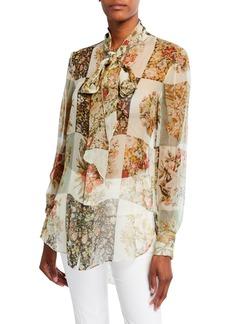 Oscar de la Renta Floral Patchwork-Print Chiffon Tie-Neck Blouse