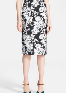 Oscar de la Renta Floral Pencil Skirt