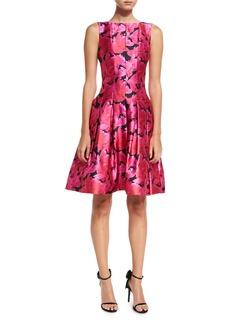 Oscar de la Renta Floral Petal-Print Fit & Flare Dress