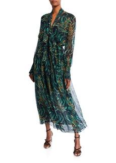 Oscar de la Renta Floral-Print Chiffon Dress