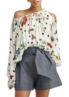 Oscar de la Renta Floral Print Drape Neck Silk Blouse