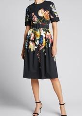 Oscar de la Renta Floral-Print Pleated Day Dress w/ Belt