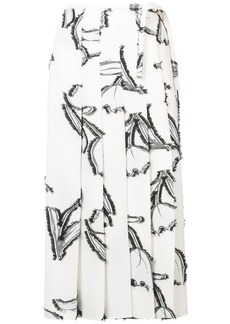 Oscar de la Renta floral print pleated skirt - White
