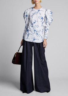 Oscar de la Renta Floral Print Puff Sleeve Cotton Blouse