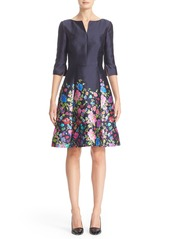 Oscar de la Renta Chine Garden Silk & Cotton Mikado Dress