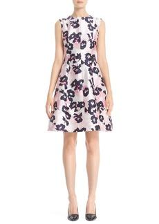 Oscar de la Renta Floral Print Silk & Cotton Mikado Dress