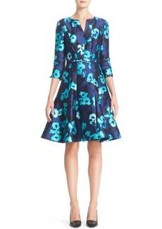 Oscar de la Renta Floral Print Silk Blend Dress