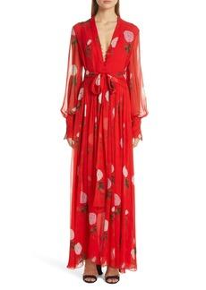 Oscar de la Renta Floral Print Silk Maxi Dress