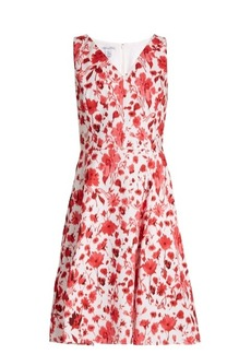 Oscar De La Renta Floral-print V-neck cotton-blend dress