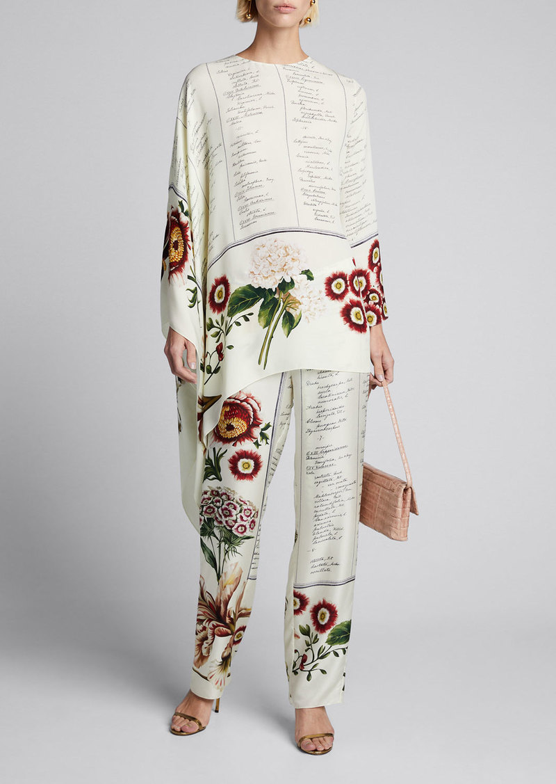 Oscar de la Renta Floral Script Asymmetrical Long-Sleeve Silk Blouse
