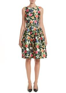 Oscar de la Renta Floral Silk Mikado Fit & Flare Dress